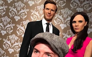 David Beckham visits his own waxwork at Madame Tussauds