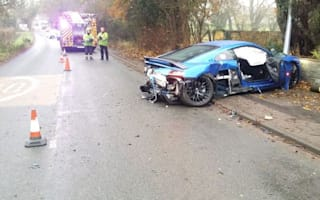 Audi R8 wrecked after crashing into telegraph pole
