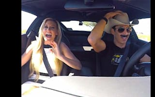 Race driver pranks Miss California with high-speed stunts