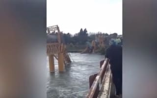 Freight train plunges into river after bridge collapse in Chile