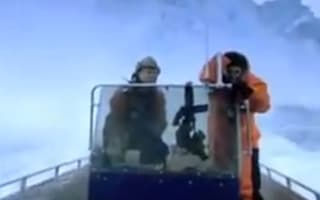 Video: TV presenter in close call as Arctic glacier collapses above boat