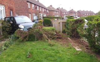 Driver wrecks three gardens with one shocking reverse fail