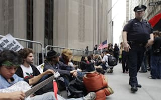 Barricades on Wall Street block protest