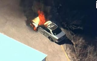 High-speed car chase ends with vehicle on fire