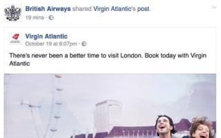 Oops! BA accidentally promotes rival Virgin Atlantic's flights on Facebook