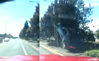 Instant karma as raging Camaro driver crashes