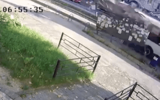 Woman miraculously dodges runaway bus
