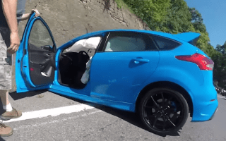 Ford Focus RS crashes after using Drift Mode on the road