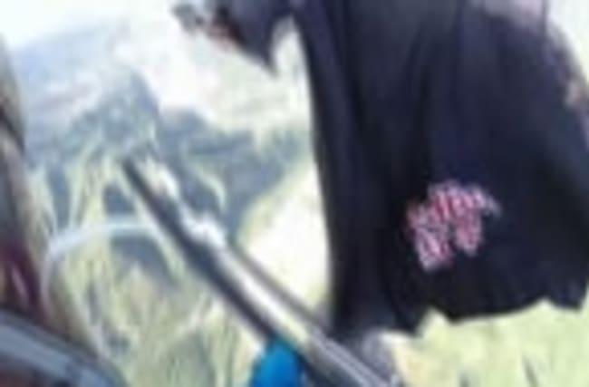 Raw: Base-Jumper Performs Stunt at Great Wall