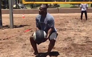 Watch: NFL star Harrison and team-mates use giant medicine ball to play volleyball