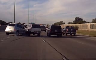 Lane-changing truck dramatically flips on highway in America