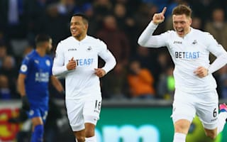 Swansea City 2 Leicester City 0: Relegation rivals pile pressure on Ranieri