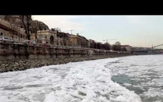 'Ice jams' form on Danube river in Hungary