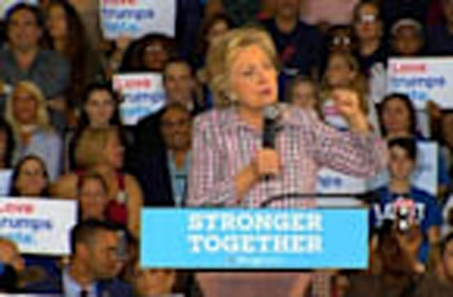 Clinton Says Trump Tweets on Machado 'Unhinged'