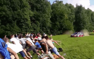 Too close for comfort! Watch as rally car almost ploughs into crowd