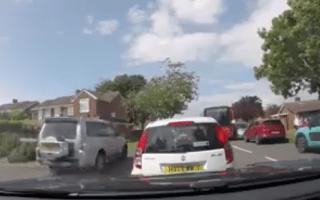 Moment driver puts kids' lives at risk outside school in Gosport