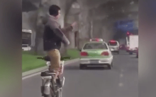 Stunning video shows man practicing martial arts on moving motorcycle