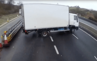 Watch a truck lose control during a terrifying motorway crash on the M3