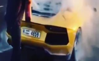Lamborghini burnt to a crisp in fire outside luxury Dubai hotel
