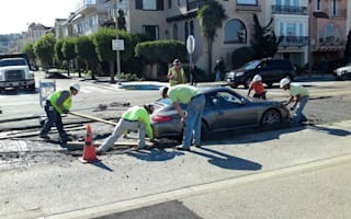 Video: This man drove his new 911 into wet cement