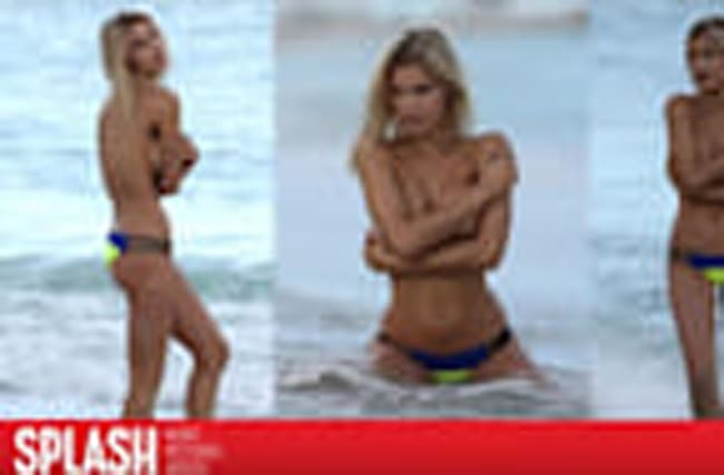 Joy Corrigan Goes Topless in Cold Miami Beach Photoshoot