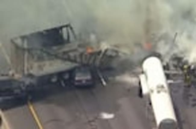 One dead, 10 injured in fiery Los Angeles crash