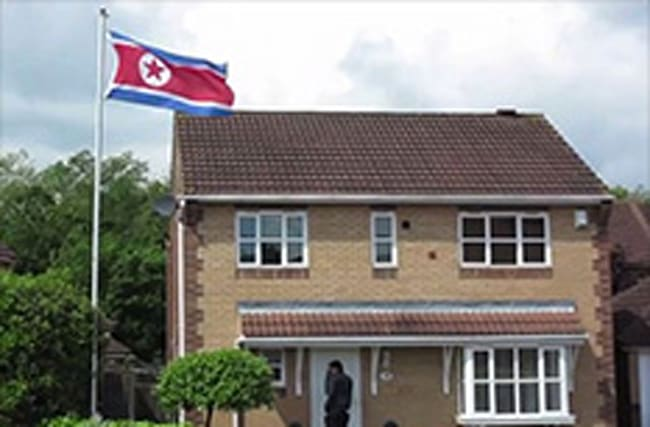 Why is a North Korean flag flying over a Middlesbrough home?