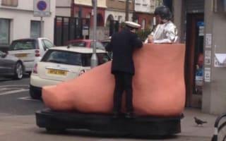 Man Seen Riding Around London In Giant Motorised Foot