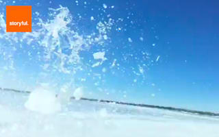 Truck falls through frozen lake in horrifying video