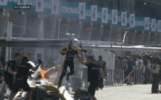 Formula 1 star forced to flee burning race car