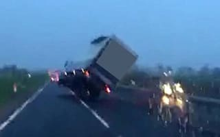 Lorry nearly blown over by high winds near Durham