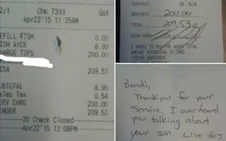 Customer leaves surprise tip - so waitress can visit her son