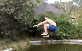 Watch: Swimming pool long jump stunt has painful ending