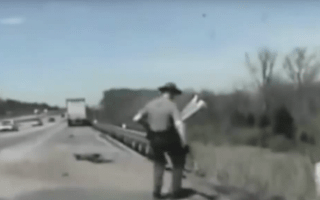 """Cop commands truck driver to """"stay with me"""" after highway crash"""