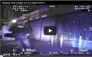 Getaway car plunges into Birmingham bus shelter at 90 MPH (video)