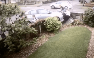 Watch the shocking moment a car ploughs into a mother and her children
