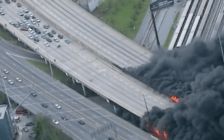 Massive fire brings down bridge in Atlanta