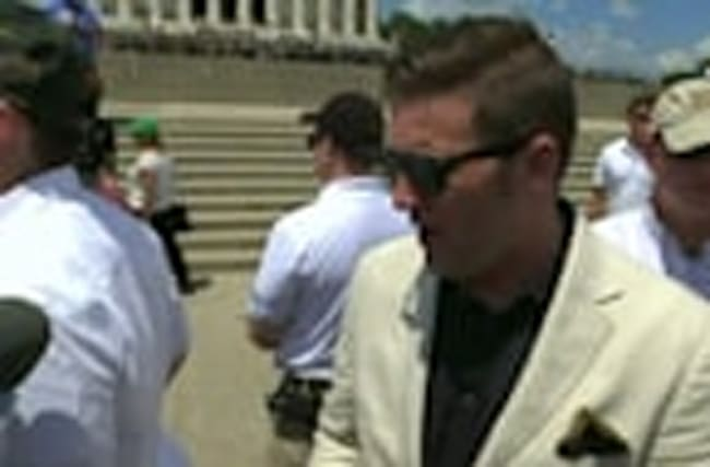 "White nationalist Richard Spencer joins protesters at ""Freedom of Speech"" rally"