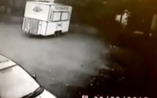 Video: Dramatic moment fast food van explodes after gas leak