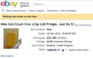 'Nike tick' crisp sold on eBay for £21