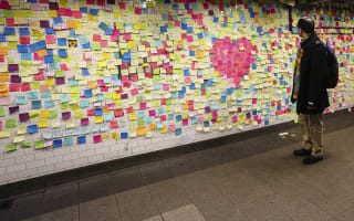 New York subway wall covered in colourful sticky notes