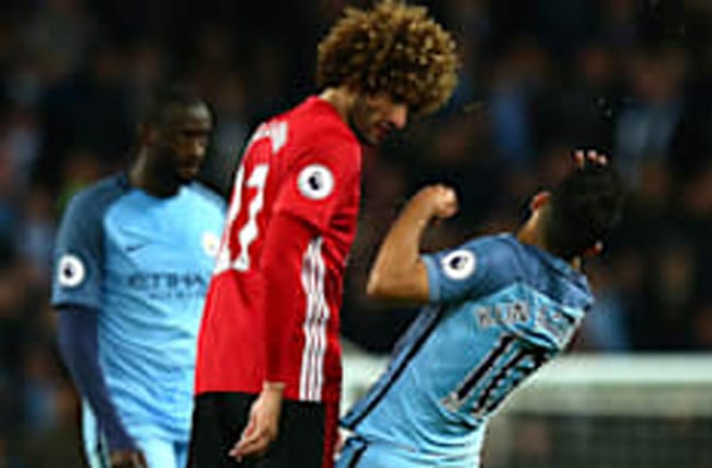 Manchester derby: Fellaini sees red for Aguero headbutt