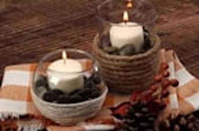 Cord-Wrapped Candle Holders