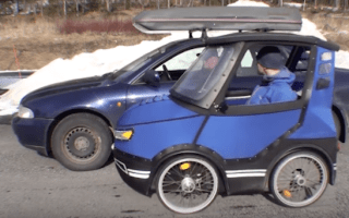 Swedish man invents a practical 'bicycle-car'