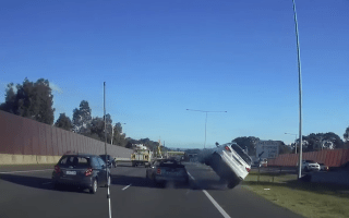 Car flips in dramatic motorway crash