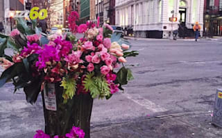 Banksy-style 'florist bandit' leaves flowers in New York bins