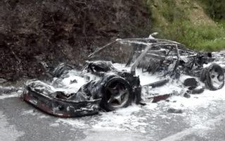 Incredibly rare Ferrari F40 prototype burnt to the ground