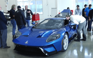 Watch the first Ford GT supercar roll off the production line