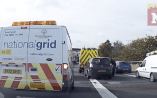 Driver gets out of ambulance to tell tailgater to back off