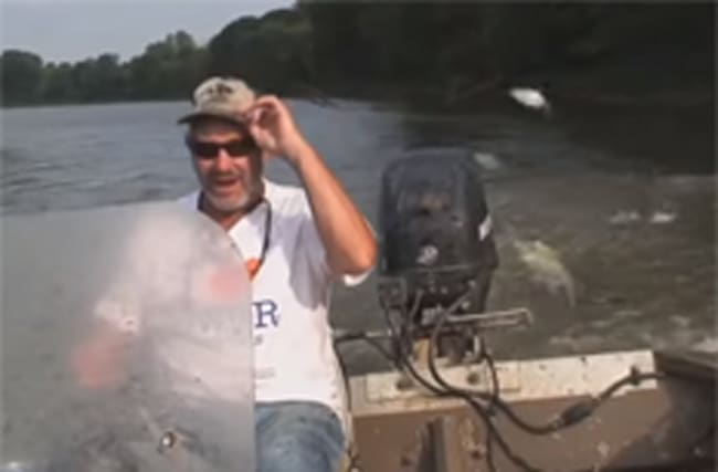 Man driving boat gets slapped in the face by large flying fish